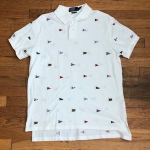 RALPH LAUREN EMBROIDERED FLAGS POLO L